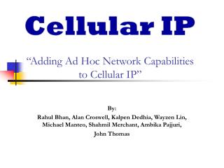 �Adding Ad Hoc Network Capabilities  to Cellular IP�