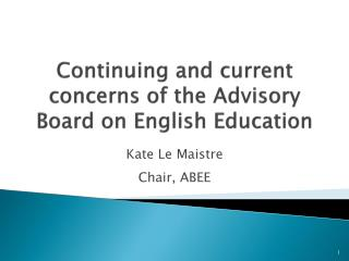 Continuing and current concerns of the Advisory Board on English Education
