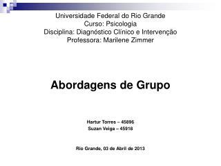Abordagens de Grupo Hartur Torres – 45896 Suzan Veiga – 45918 Rio Grande, 03 de Abril de 2013