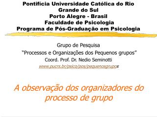"""Grupo de Pesquisa  """"Processos e Organizações dos Pequenos grupos"""" Coord. Prof. Dr. Nedio Seminotti"""