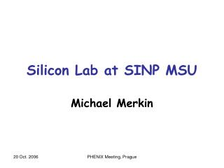 Silicon Lab at SINP MSU