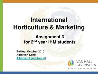International Horticulture & Marketing