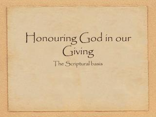 Honouring God in our Giving