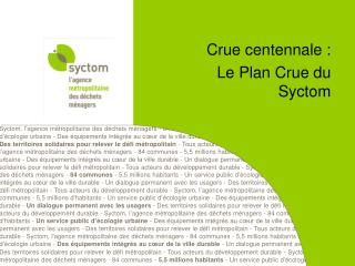 Crue centennale :  Le Plan Crue du Syctom