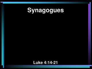 Synagogues Luke 4:14-21