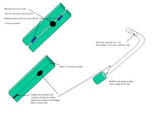 Effectuer un trou de 5 mm  entre les 2 bareaux d'acier qui sont
