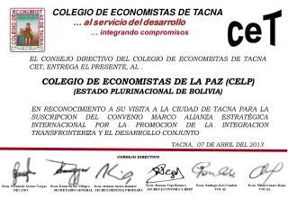 COLEGIO DE ECONOMISTAS DE TACNA