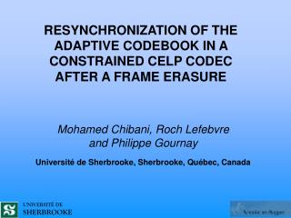 RESYNCHRONIZATION OF THE ADAPTIVE CODEBOOK IN A  CONSTRAINED CELP CODEC AFTER A FRAME  ERASURE