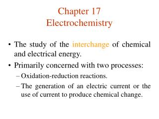 Chapter 17 Electrochemistry
