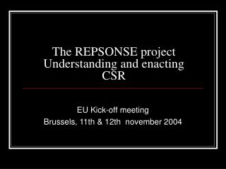 The REPSONSE project  Understanding and enacting CSR