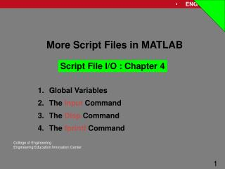 More Script Files in MATLAB