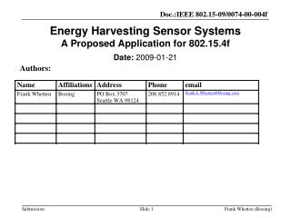 Energy Harvesting Sensor Systems A Proposed Application for 802.15.4f