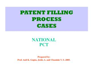 PATENT FILLING PROCESS CASES