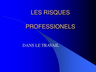 LES RISQUES  PROFESSIONELS