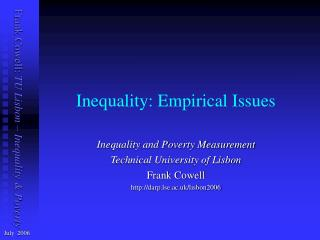 Inequality: Empirical Issues