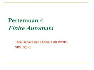 Pertemuan 4 Finite Automata