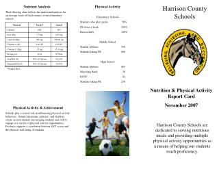 Nutrition & Physical Activity Report Card November 2007