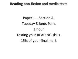 Reading non-fiction and media texts