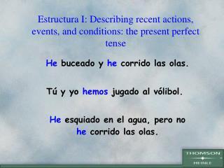 Estructura I: Describing recent actions, events, and conditions: the present perfect tense