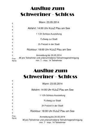Ausflug zum  Schweriner - Schloss