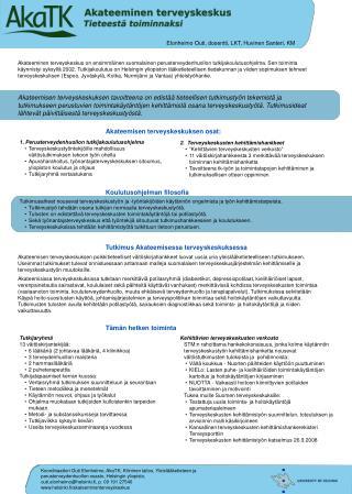 1. Perusterveydenhuollon tutkijakoulutusohjelma