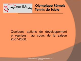 Olympique R�mois            Tennis de Table