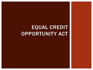 Equal Credit Opportunity Act