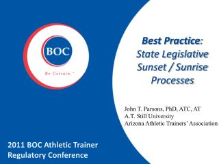Best Practice : State Legislative Sunset / Sunrise Processes