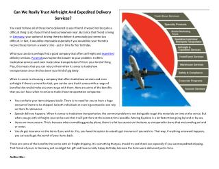Can We Really Trust Airfreight And Expedited Delivery