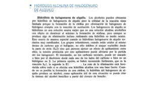 Hidrolisis alcalina de halogenuro  de alquilo