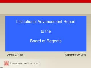 Institutional Advancement Report to the  Board of Regents