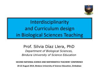 Interdisciplinarity and Curriculum design in Biological Sciences Teaching