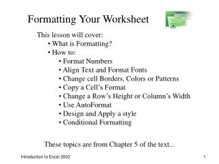 Introduction to Excel 2002