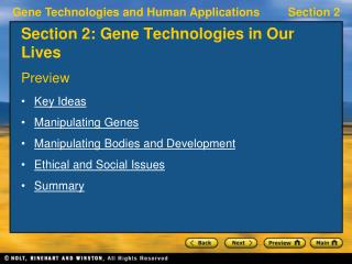 Section 2: Gene Technologies in Our Lives