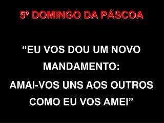 """5º DOMINGO DA PÁSCOA """"EU VOS DOU UM NOVO MANDAMENTO: AMAI-VOS UNS AOS OUTROS COMO EU VOS AMEI"""""""