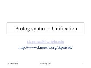 Prolog syntax + Unification