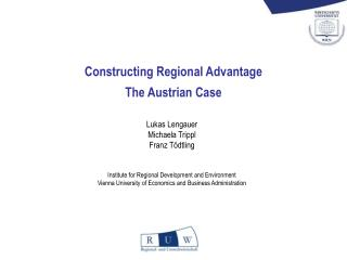 Constructing Regional Advantage The Austrian Case