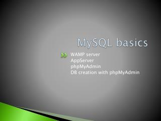 MySQL basics
