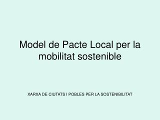 Model de Pacte Local per la mobilitat sostenible