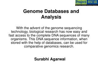 Genome Databases and Analysis