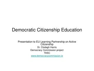 Democratic Citizenship Education