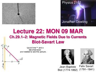 Lecture 22: MON 09 MAR Ch.29.1–2: Magnetic Fields Due to Currents