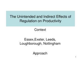 The Unintended and Indirect Effects of Regulation on Productivity