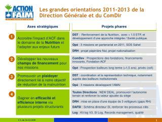 Les grandes orientations 2011-2013 de la Direction Générale et du ComDir