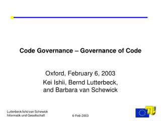 Code Governance – Governance of Code