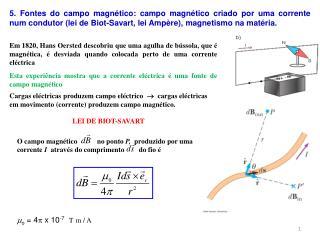 Esta experiência mostra que a corrente eléctrica é uma fonte de campo magnético