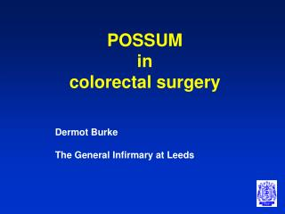 POSSUM in colorectal surgery