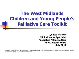 The West Midlands Children and Young People's Palliative Care Toolkit