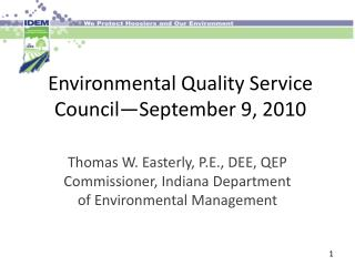 Environmental Quality Service Council—September 9, 2010