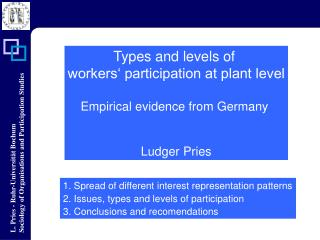 Types and levels  of  workers' participation at plant level Empirical evidence from  Germany